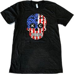 American Flag KC Sugar Skull Unisex Super Soft Crew Tee Charcoal Black