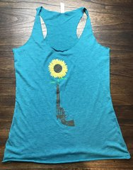 Sunflower Revolver Teal Raw Edge Triblend Tank