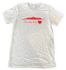 KC Skyline Two Cities One ❤️ Unisex Super Soft White Fleck Crew Tee