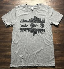 KC Skyline Crown Arrow Shield Unisex Super Soft Gray Crew Tee