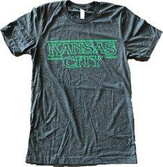 Kansas City Unisex Super Soft Kelly Green on a Crew Tee Charcoal Black