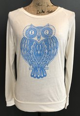 KC Athena Owl Triblend Ivory Slouchy Long Sleeve Pullover