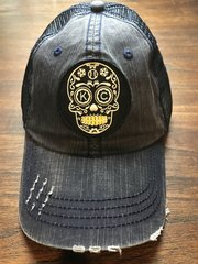 Sugar Skull our Logo Distressed Navy Velcro adjusted one size fits all