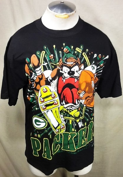 Vintage 1993 green bay packers large looney tunes taz for Green bay packers retro shirt