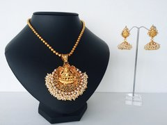 Pearl Cluster Edged Lakshmi Pendant on Ball Chain with Jhumkas