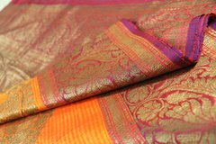 Orange & Fucshia Linen Silk Banarasi