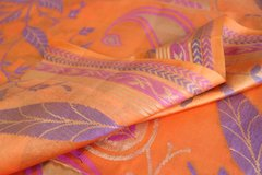 Orange Large Pattern Designer Silk Cotton