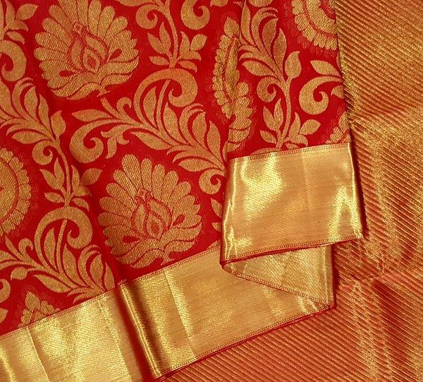 Bright Vermilion Red Large Motif Pure Kanchipuram Silk