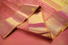 Onion Pink & Sandalwood Yellow Pure Kanchipuram Silk Saree