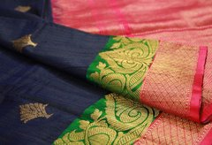 Navy Blue, Green & Hot Pink Tussar Silk Banarasi