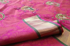Kundan Emproidered Bright Pink Pure Kanchipuram Silk
