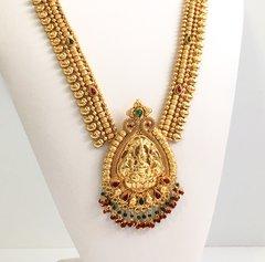 Grand Maroon & Green Lakshmi Haaram with Hanging Beads & Matching Jhumkas
