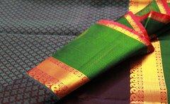 Navy Blue, Meenakshi Green, & Magenta Pure Kanchipuram Silk Saree