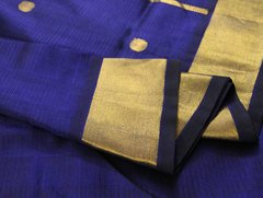Sapphire Blue Pure Kanchipuram Cotton Silk Saree