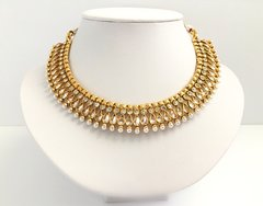 AD Stone & Pearl Embellished Collar Necklace with Small Matching Jhumkas
