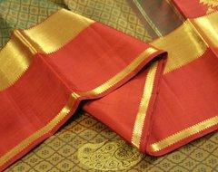 Maruthaani (Henna) Green & Brick Red Pure Kanchipuram Silk Saree