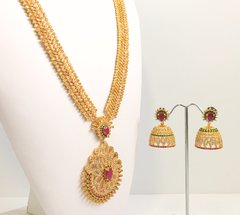 Micro Gold Plated AD Haaram with Large Matching Jhumkas