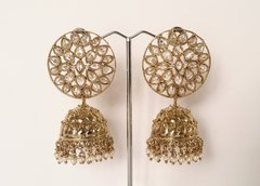 Extra Large Pale Gold & AD Jhumkas