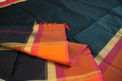 Peacock Green, Magenta & Orange Maheshwari Silk Cotton
