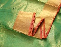 Lime Green & Papaya Orange Tissue Zari Pure Kanchipuram Silk Saree