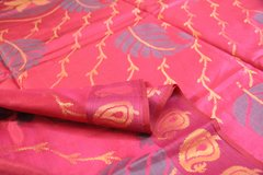 Magenta Large Pattern Designer Silk Cotton