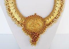 Lakshmi Coin Pearl Cluster Edged Haaram & Jhumkas