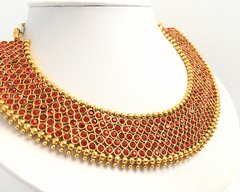 Chilli Red Elegant Collar Necklace with Oversized Matching Jhumkas