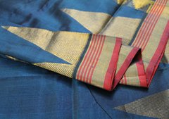 Krishna Blue & Pink Edged Pure Kanchipuram Cotton Silk Saree