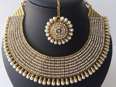 Antique Pearl Edged Micro American Diamond Broad Collar Necklace with Earrings & Tikka