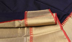 Navy Blue & Red Chanderi Silk Cotton
