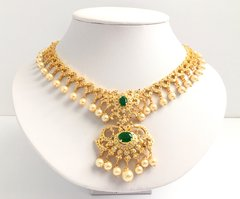 Delicate Green AD & Pearl Drop Attigai with Petite Matching Earrings