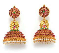 Domed Temple Jhumkas with Peacock Details