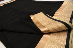 Matte Black & Antique Gold Georgette