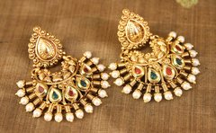 Red & Green Embellished Chand Balis