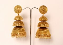 Large Triple Tier Gold Jhumkas