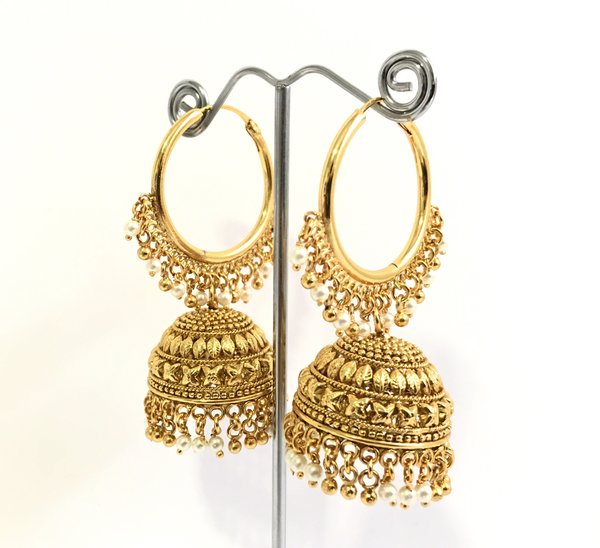 Antique gold jhumkas online shopping