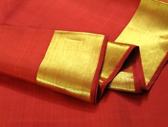 Vermilion Red & Plain Solid Gold Border Pure Kanchipuram Silk Saree