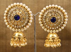 Large Medallion Earrings with Gold Jhumkas
