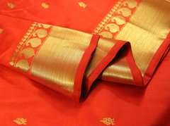 Hot Chilli Pepper Red & Mango Motif Pure Kanchipuram Silk Saree