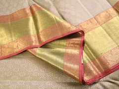 Gray Silver Pure Kanchipuram Silk Saree With Dusty Rose And Pale Green Border
