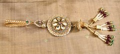 Polki, Rhodolite & Kundan Large Antique Saree Clip
