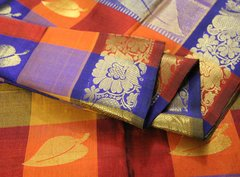 Firey Orange Red & Blue Large Check Pure Kanchipuram Cotton Silk Saree