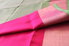 Pinkish Red & Olive Green Pure Uppada Soft Silk
