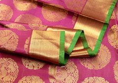 Plum Purple & Green Handloom Pure Kanchipuram Silk Saree