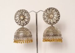 Large Ornate Oxidized Silver Jhumkas with Rose Gold Center Stone