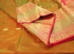 Firey Orange/Green Double Shot Pure Kanchipuram Silk Saree