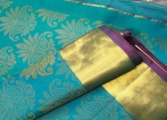 Rama Blue Brocade Pure Kanchipuram Silk Saree
