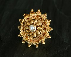 Extra Large Sunburst Antique Gold & Pearl Ring