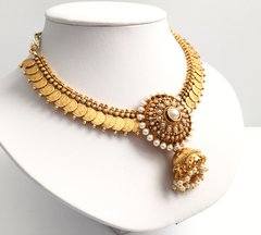 Coin & Medallion Jhumka Pendant Attigai with Matching Earrings