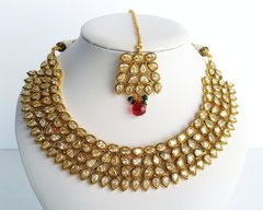 AD Collar Necklace with Tikka & Chandelier Earrings